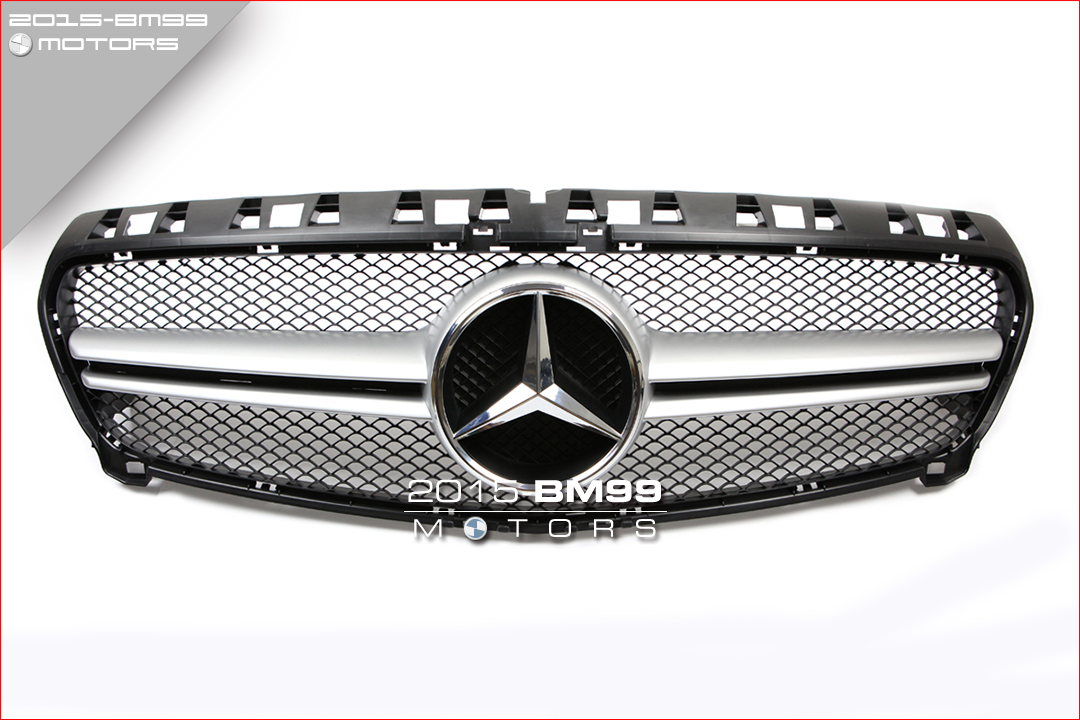 Black silver amg grille grill for mercedes benz w176 a for Silver star mercedes benz parts